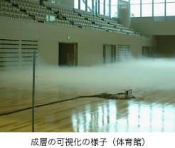 成層の可視化の様子(体育館)